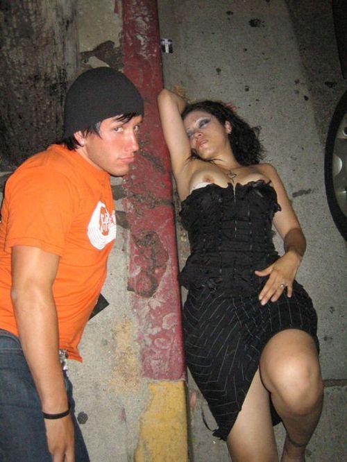 Girl slips drunk nipple