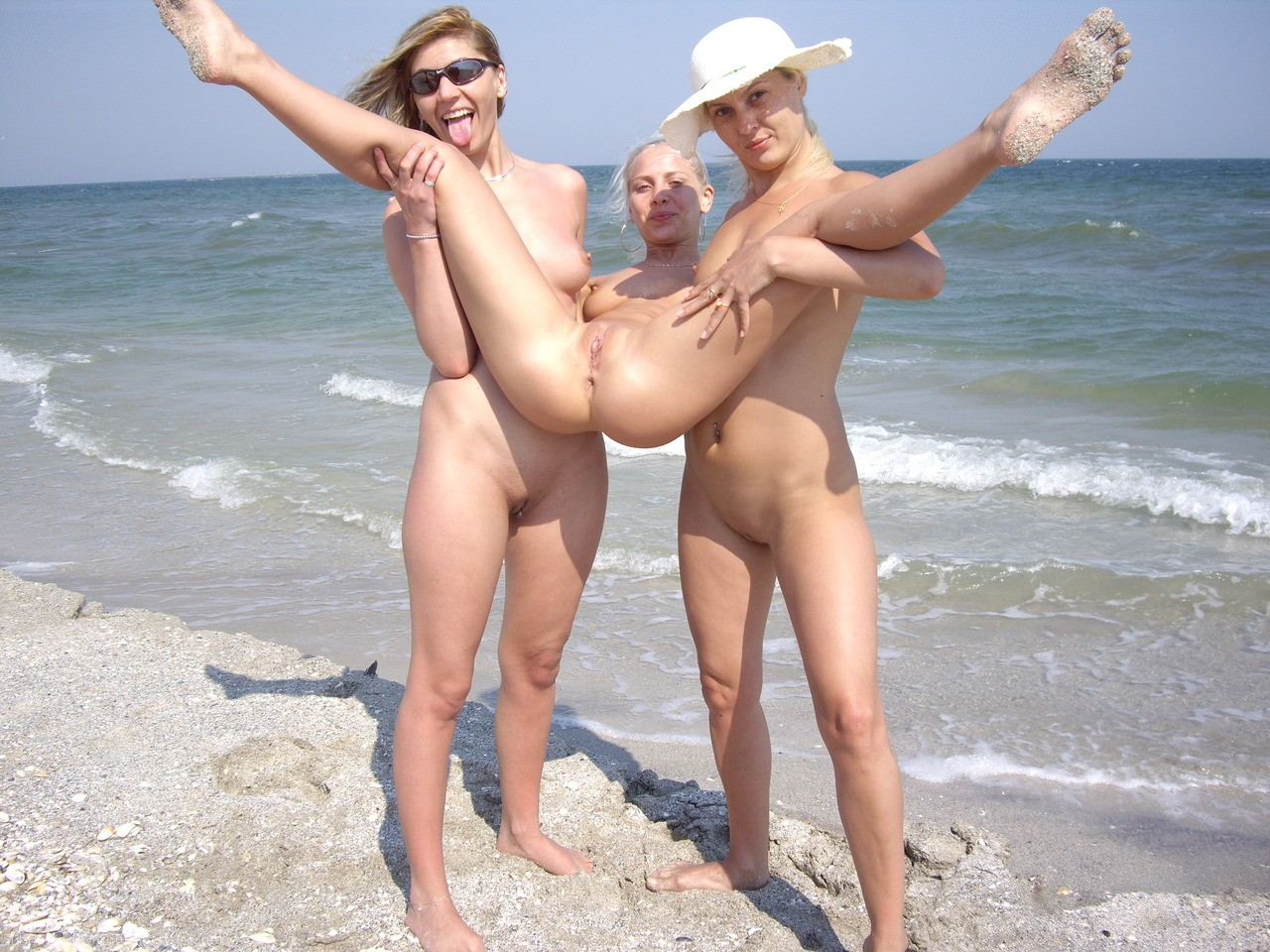 Nude beach hot brunette video shoot 8