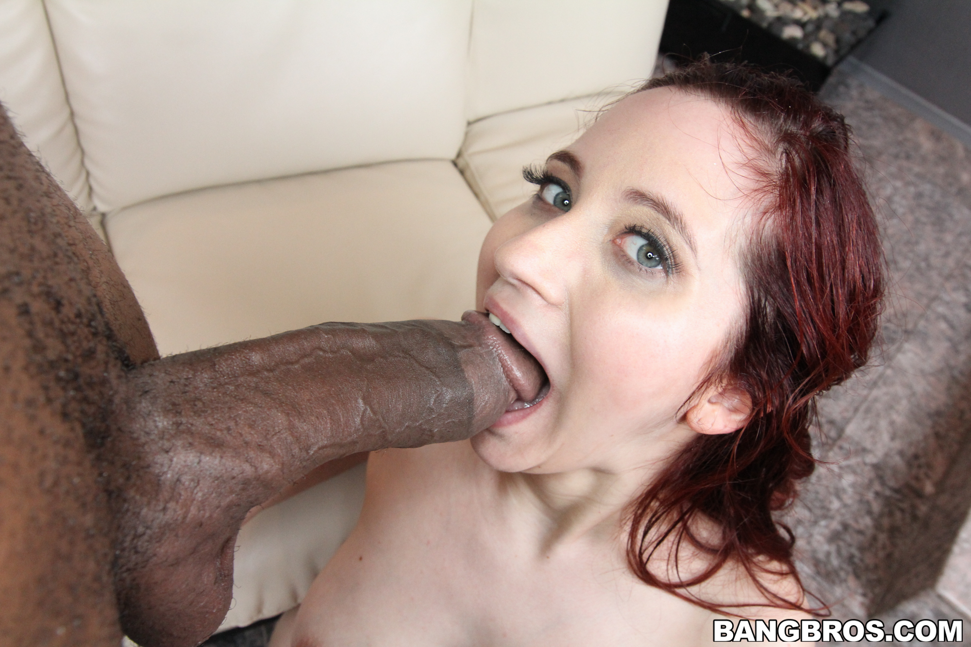Young redhead sucks many cocks speaking, would