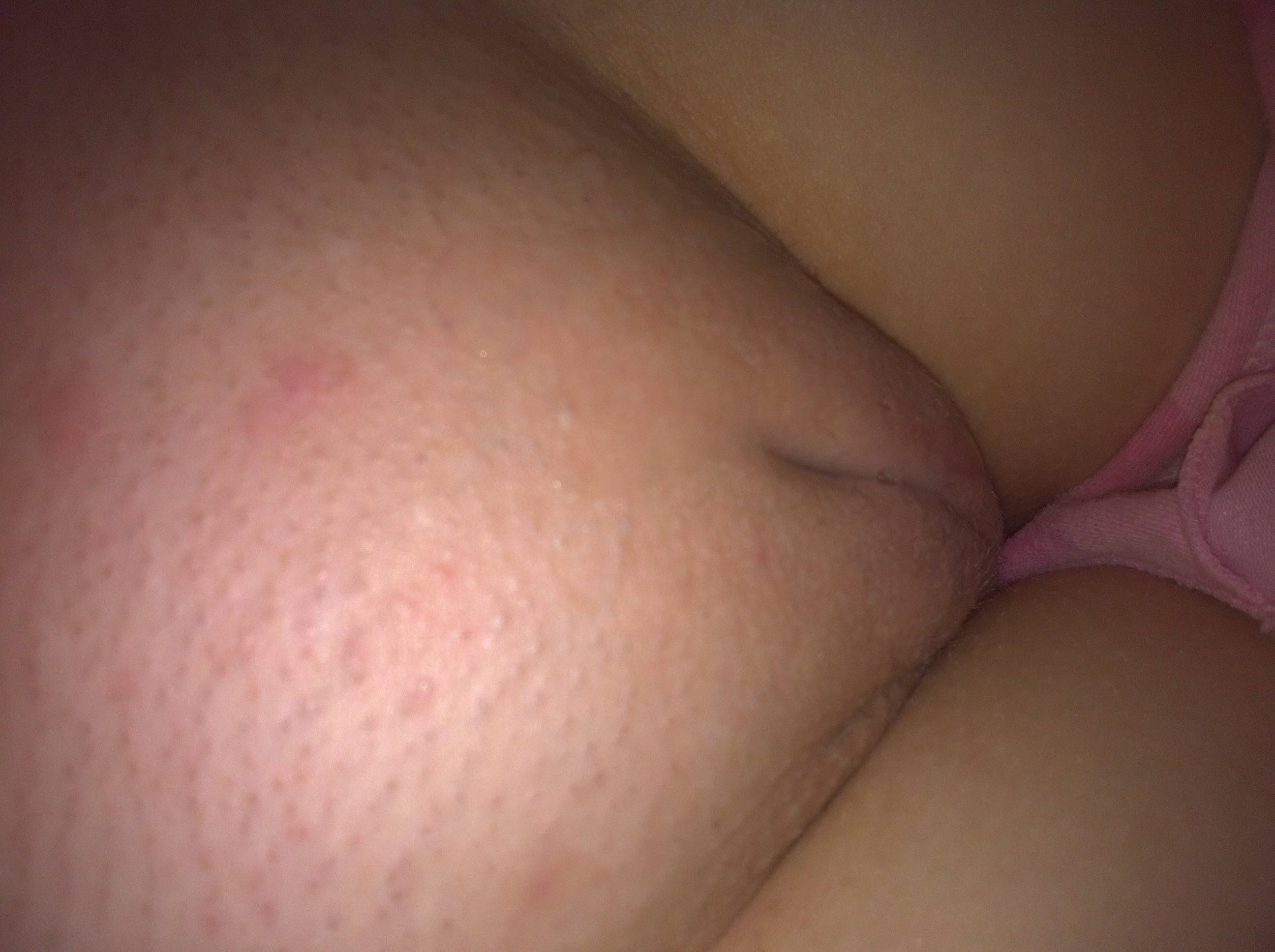 Checking out her hairy asshole as she plays with my uncut 1