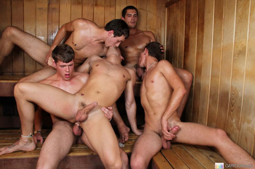 Gay Orgy In Sauna
