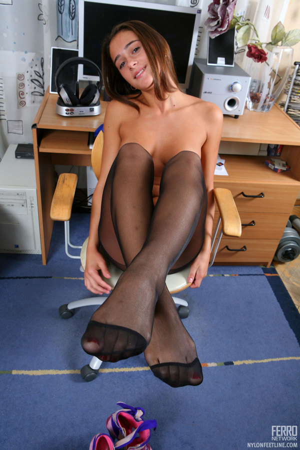Pantyhose feet college library curious