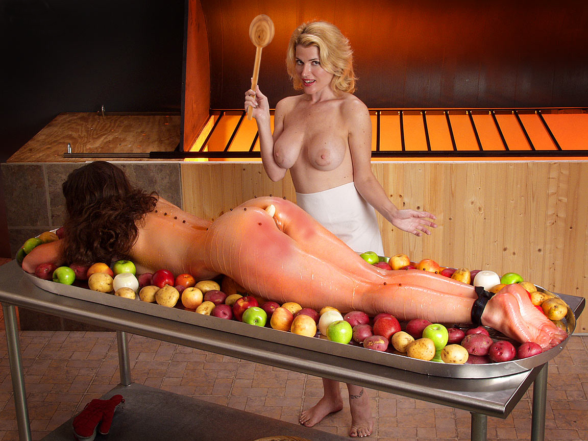 Nude women cooking thankgiving