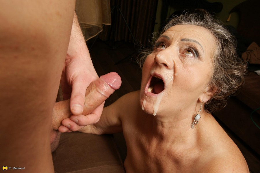 old lady covered in cum free